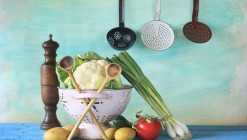 vegetables and kitchen utensils, cooking concept, free copy spac